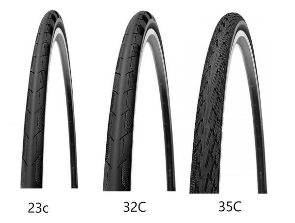 クロスバイクとロードバイクのタイヤサイズ比較700C 23C28C 35C