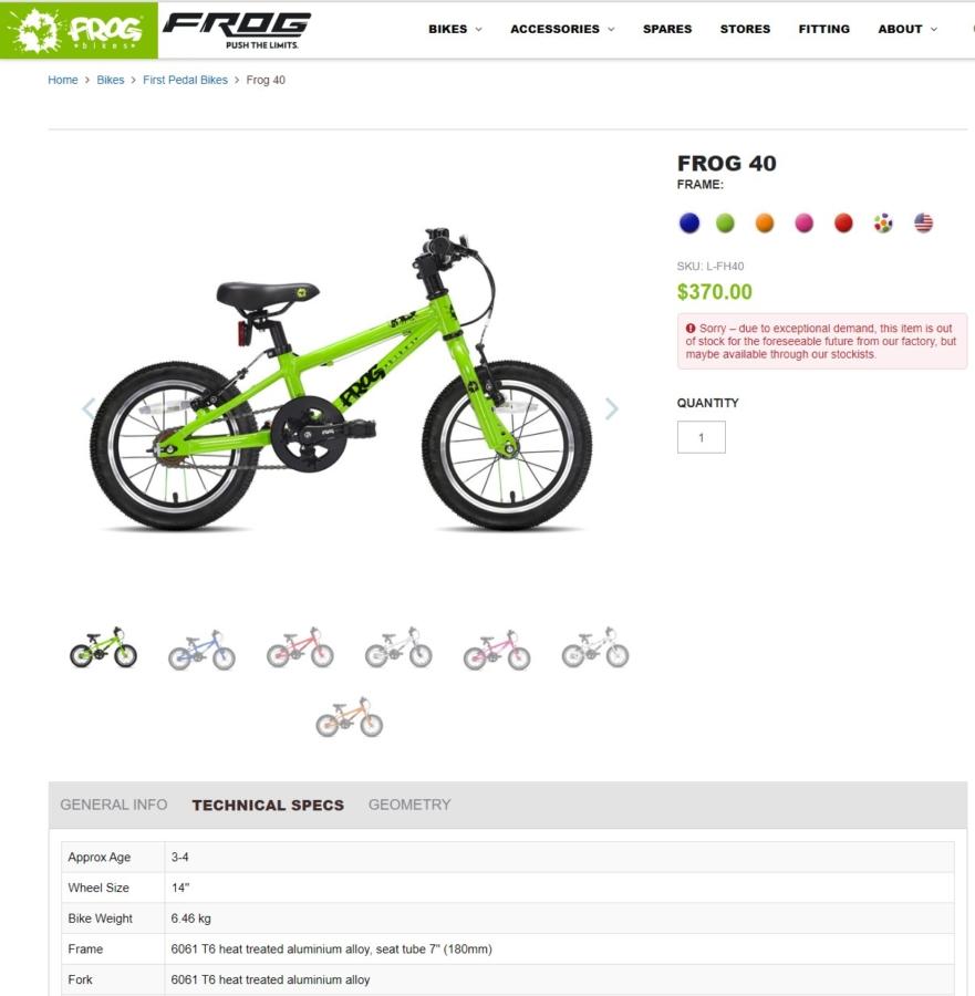 frogbike frog40 16inch